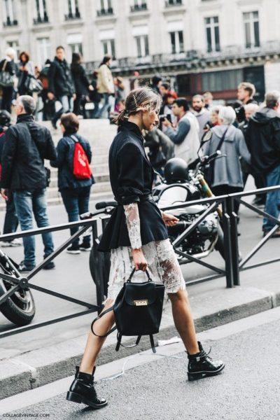 смешение стилей, эклектика, рюкзак, спорт-шик, гипюровое платье, пиджак