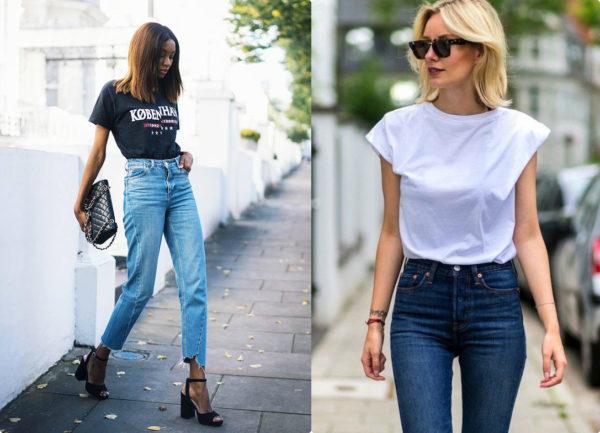 с чем носить джинсы, современные джинсы, модные джинсы, джинсы 2018, устаревшие модели джинс, джинсы футболка